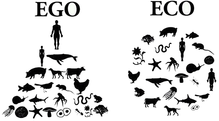 "At left, a black-and-white diagram under the word ""Ego"" shows the silhouette of a human man at the top of a triangle under which are silhouettes of a human female, whale, pig, dog, cow, fish, bird, and other creatures. At right, a black-and-white diagram under the word ""Eco"" shows the same silhouettes but arrayed in a circle."