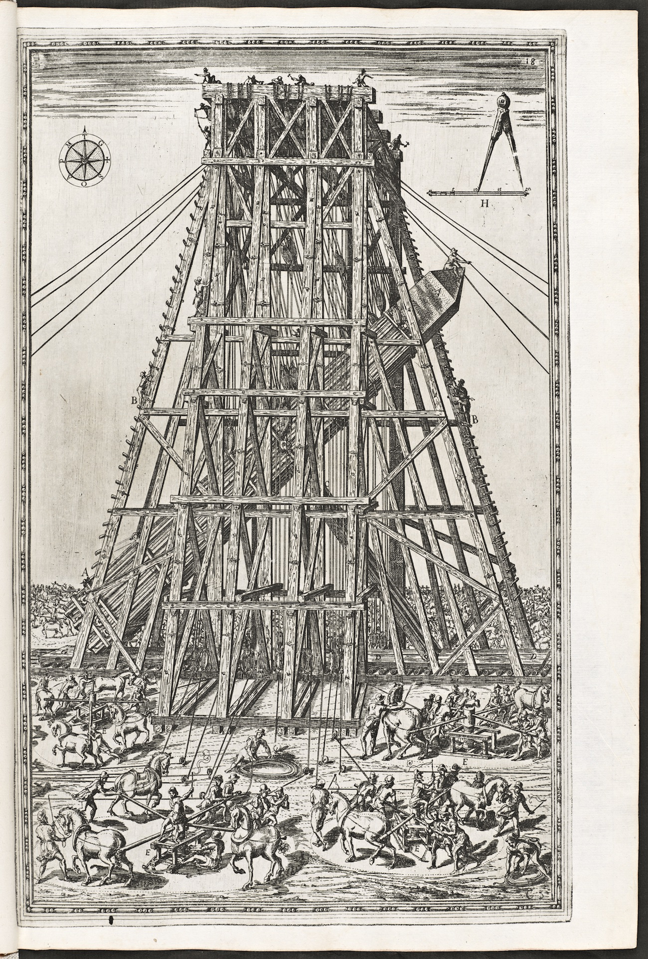 Engraving showing a massive wooden scaffold used to hoist an ancient Egyptian obelisk in early modern Rome