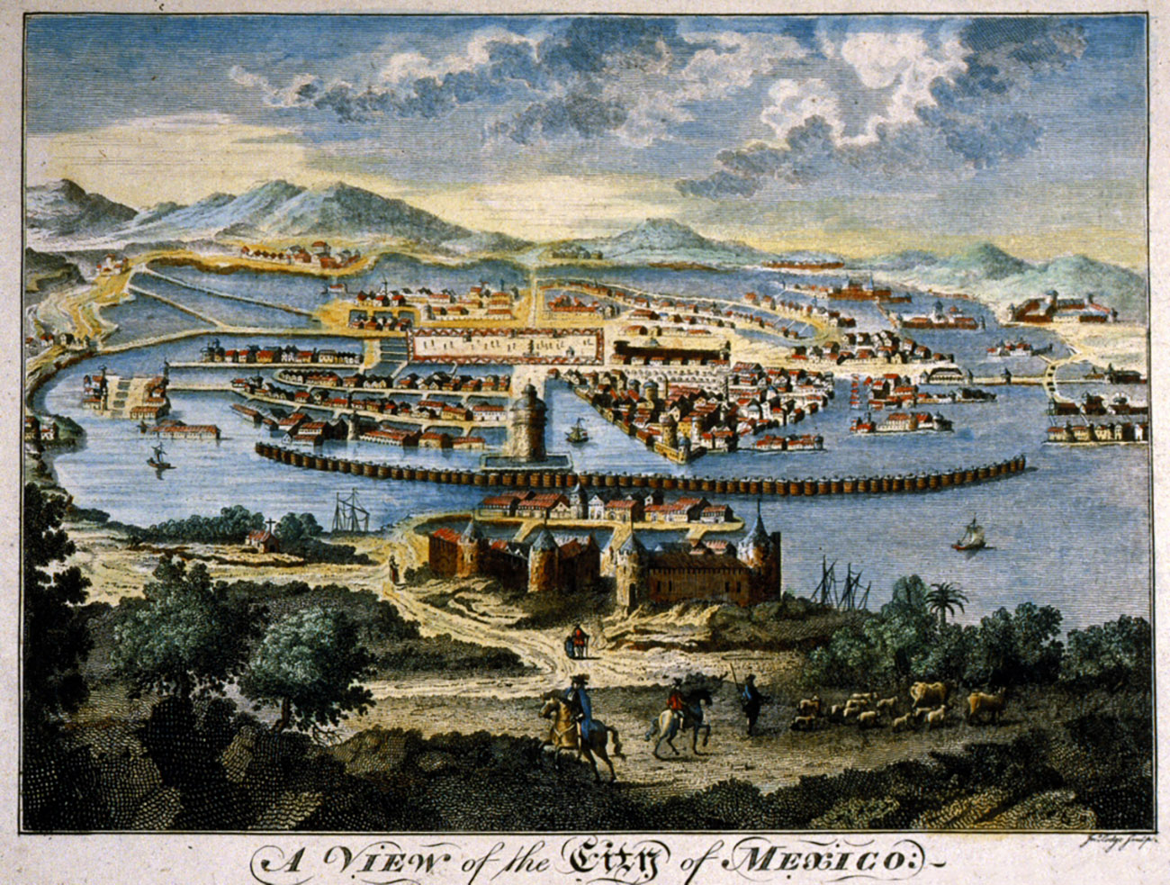 This drawing of Mexico City circa 1778 shows red-roofed buildings surrounding a large plaza, all built on canals in a large lake basin. In the background are mountains; in the foreground are buildings with turrets and a port.