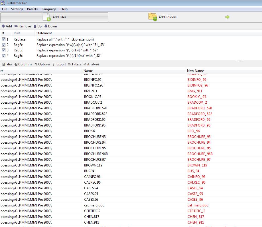 Screenshot of RenamerPro
