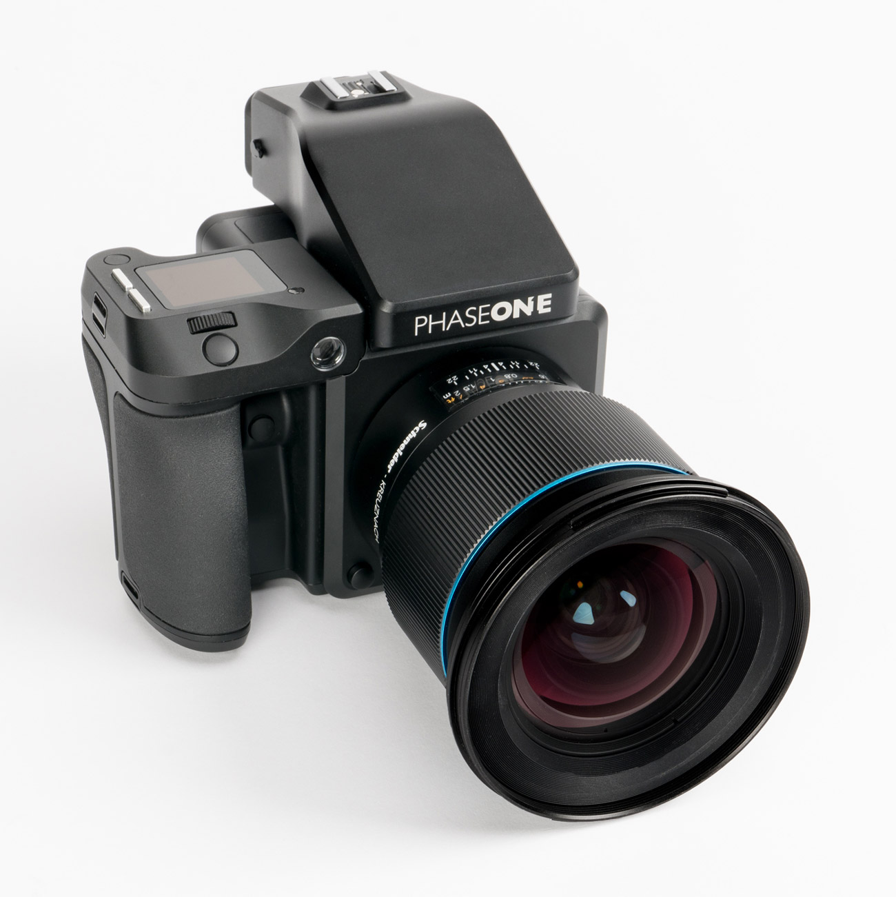 Black professional camera with a large lens and Phase One label.