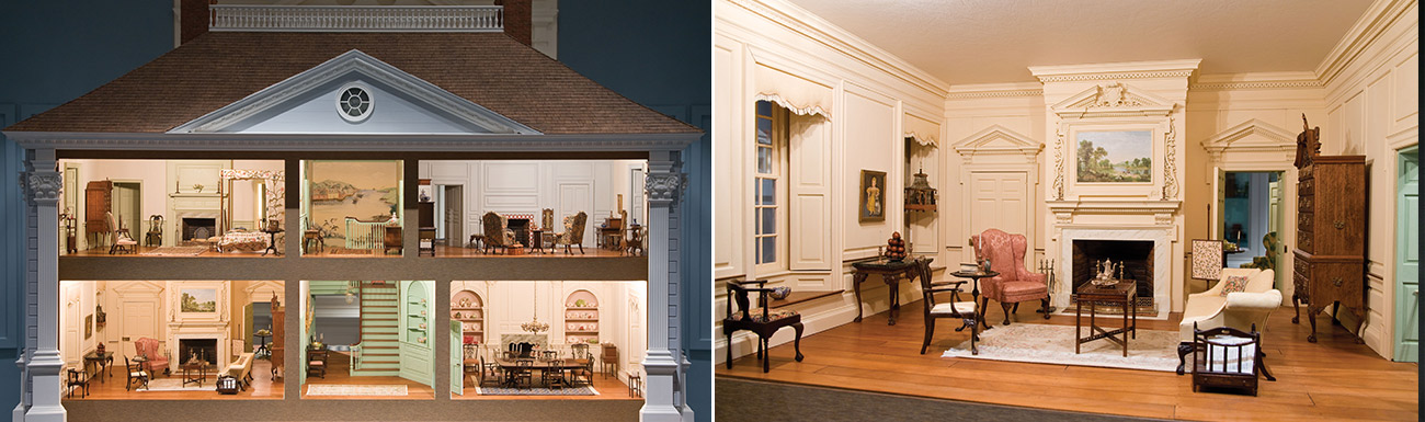 A cutaway view of an eighteenth century mansion in miniature. On the right, a detail view of the sitting room with extremely detailed furniture and decor.