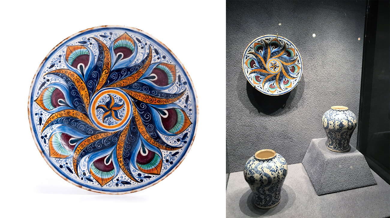 On the left a ceramic plate with an intricate peacock pattern and the same plate shown in a display with two vases.