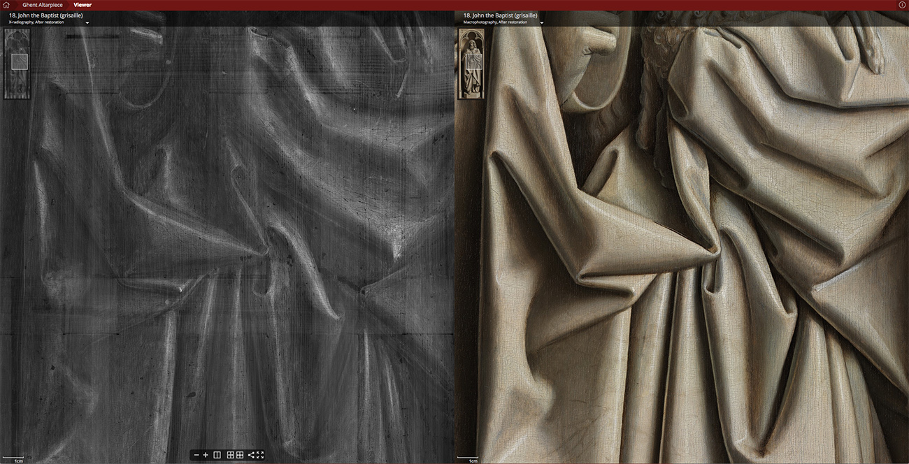 John the Baptist in grisaille detail folds X-ray and photo.
