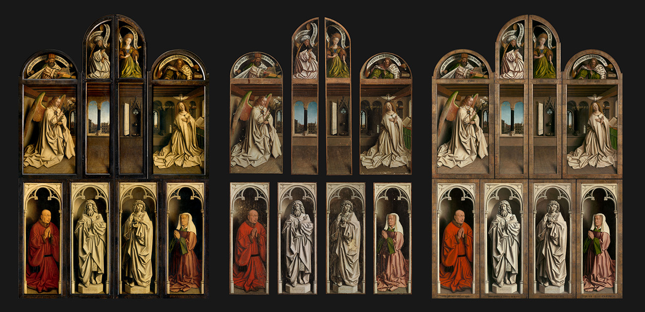 Three views of Jan Van Eyck's Ghent Altarpiece closed. Before, during and after restoration.