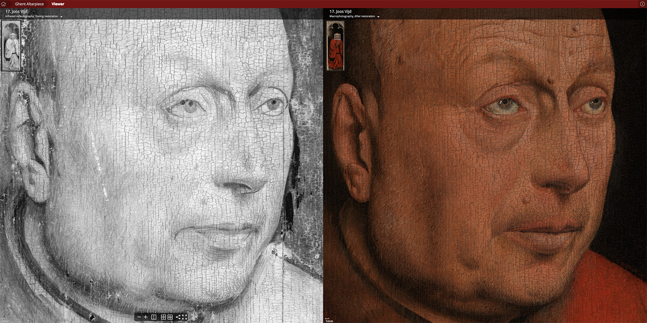Detail face of Joos Vijd, IRR and photo