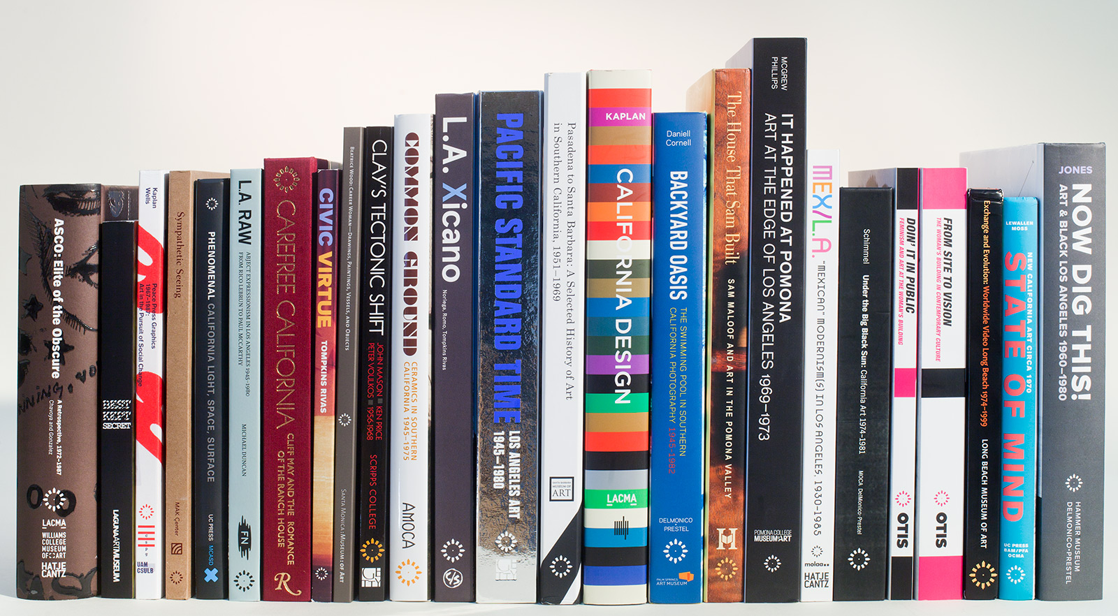 Spines of multiple hardback books about Latin American and Latino art standing side by side on a shelf