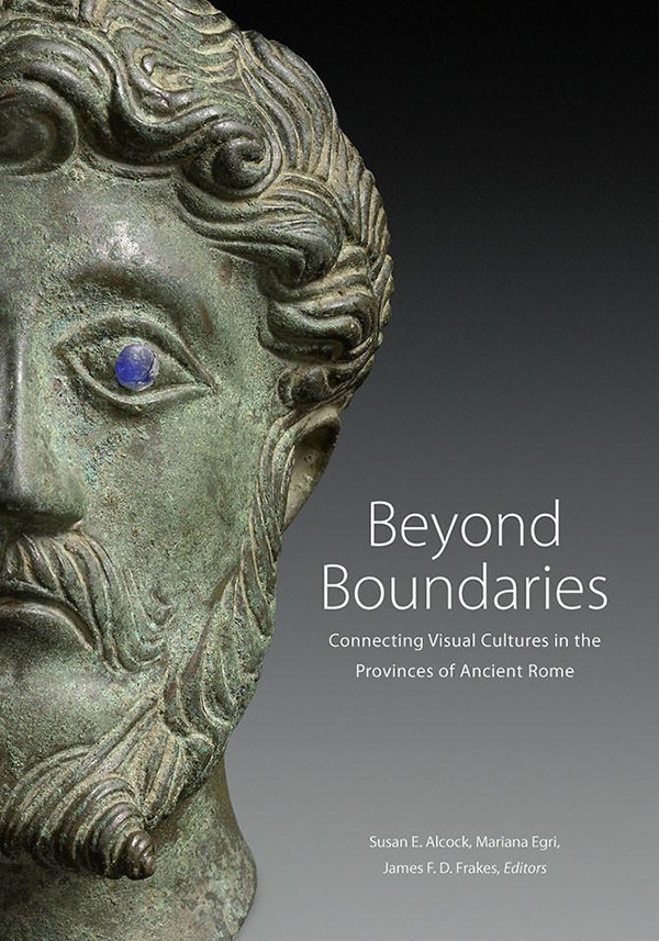 Cover of a book showing a classical-era bronze head, patinated in green, with a blue inset eye