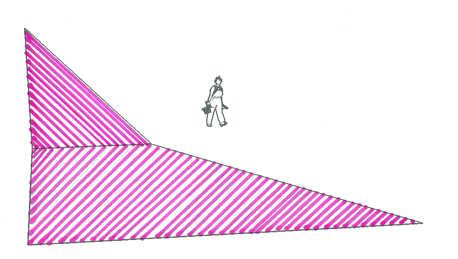 Sketch of a person walking in space alongside a large geometric shape composed of pink lines