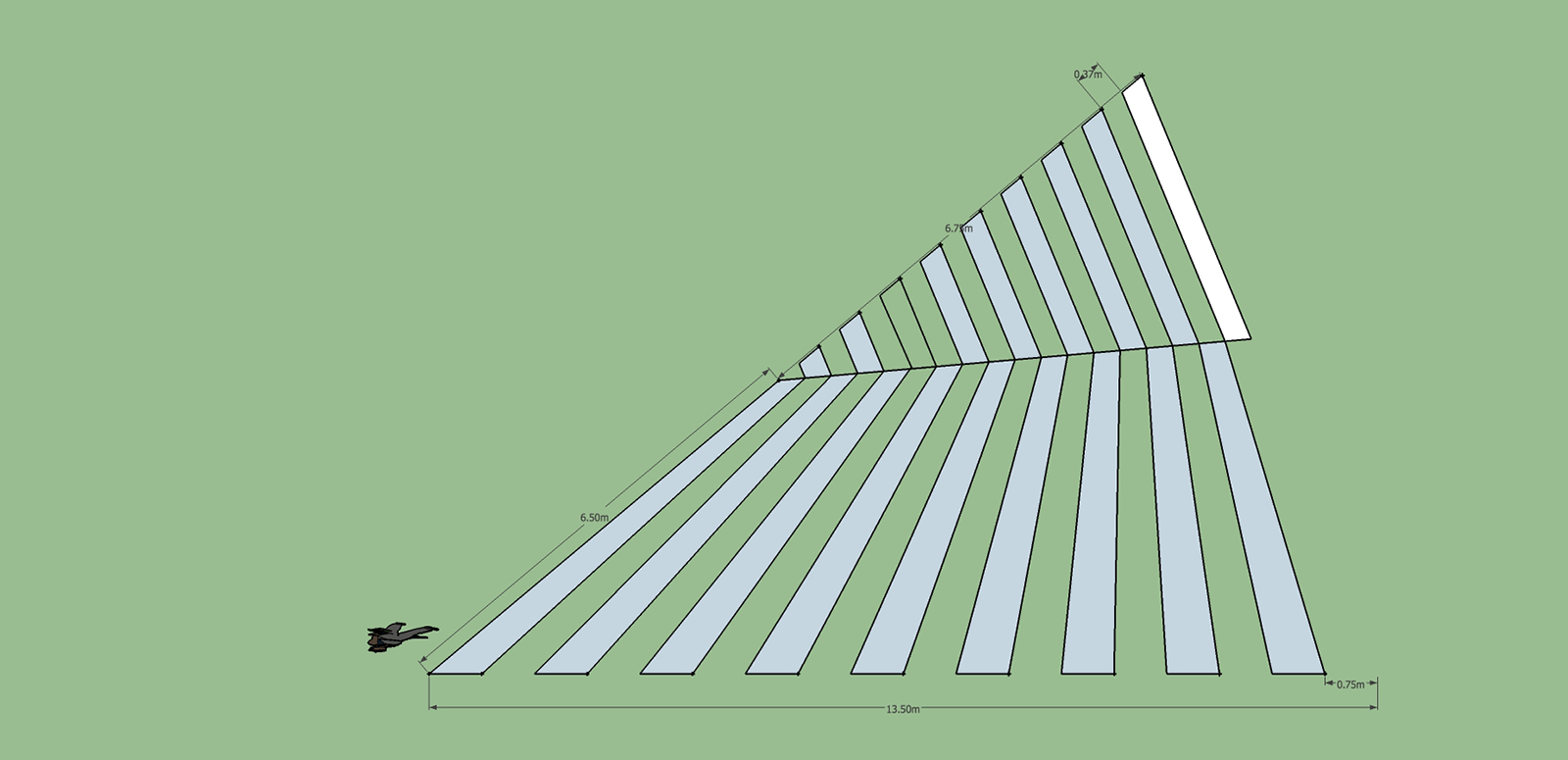 Diagram of a person walking in space on a large green field, alongside a massive triangle delineated by two blocks of parallel lines