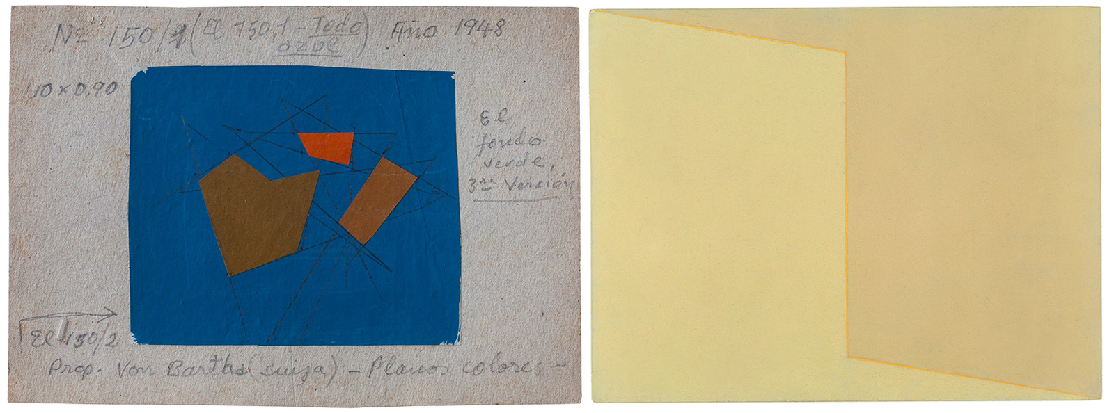 Two geometrical artworks side by side: one showing brown geometric forms on a blue rectangle, the other showing a pale yellow painting with a seam down the center