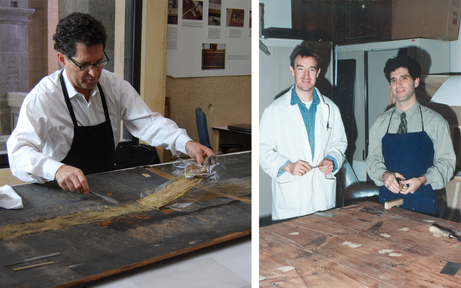 Left: A middle aged man with glasses works on conserving a wood panel painting. Right: Two men stand near a Rogier van der Weyden painting in 1991.