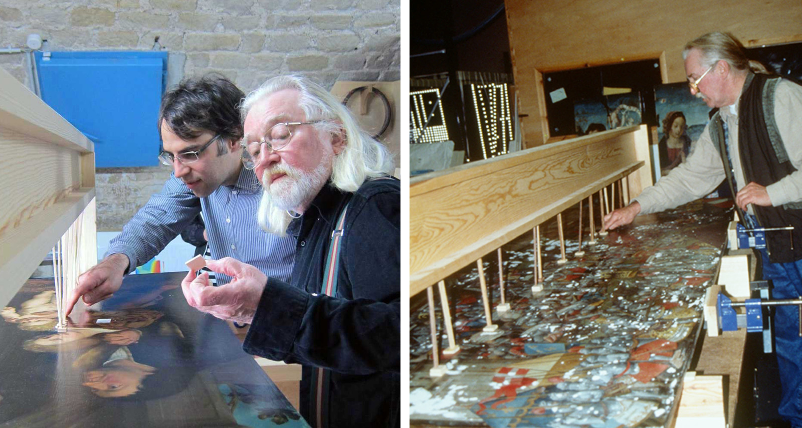 Left: An older male trainer and a younger male trainee examine a wood panel painting. Right: A photo from 1999 of the trainer working on a panel painting.