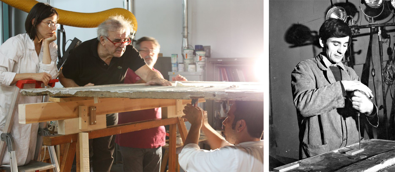 Left: Trainer guides trainees in treatment of wood panel painting. Right: Same trainer in 1966 working to remove crosspieces of a wood panel painting.