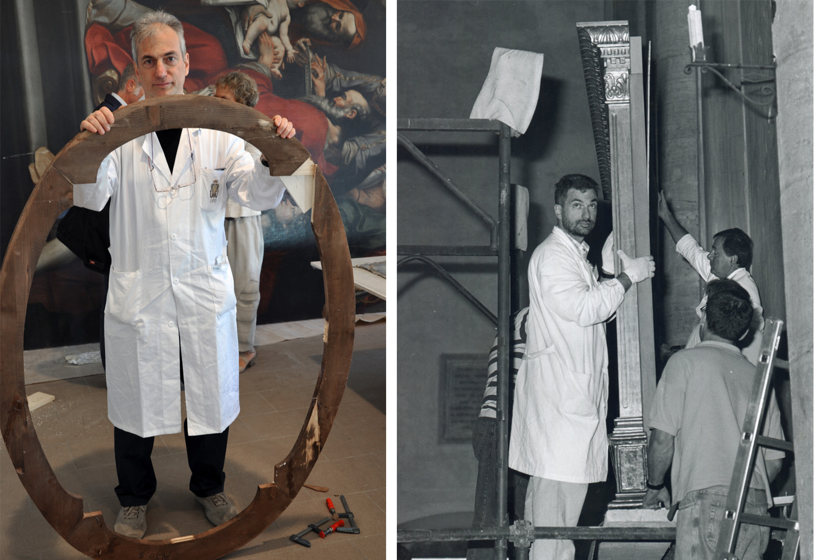 Left: Man holding wood brace for painting. Right: A photo from 1998 of the same man working on conserving a wood panel painting.