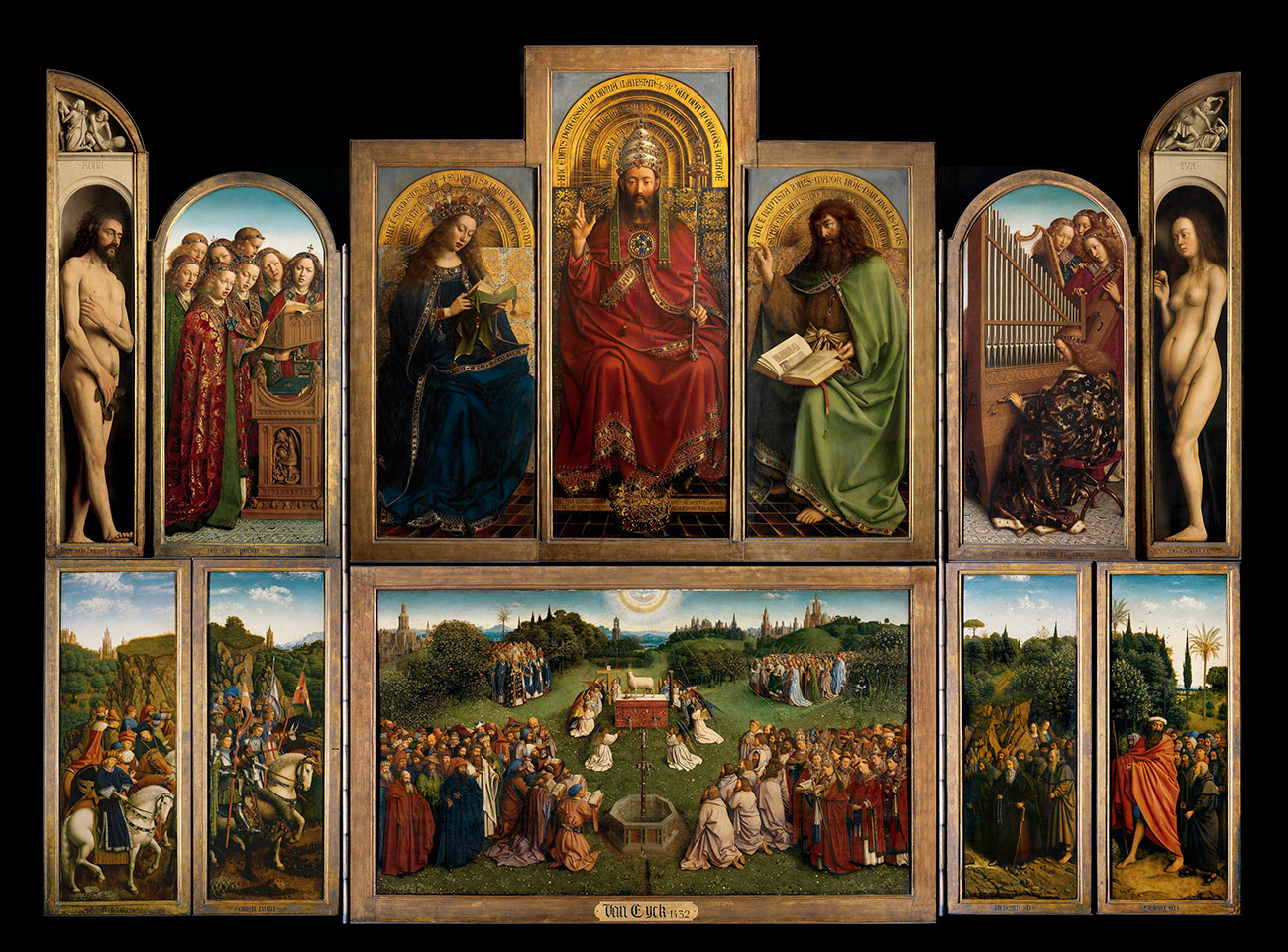 An intricate Christian altarpiece painted of many panels painted on wood in vivid colors, with extensive gilding