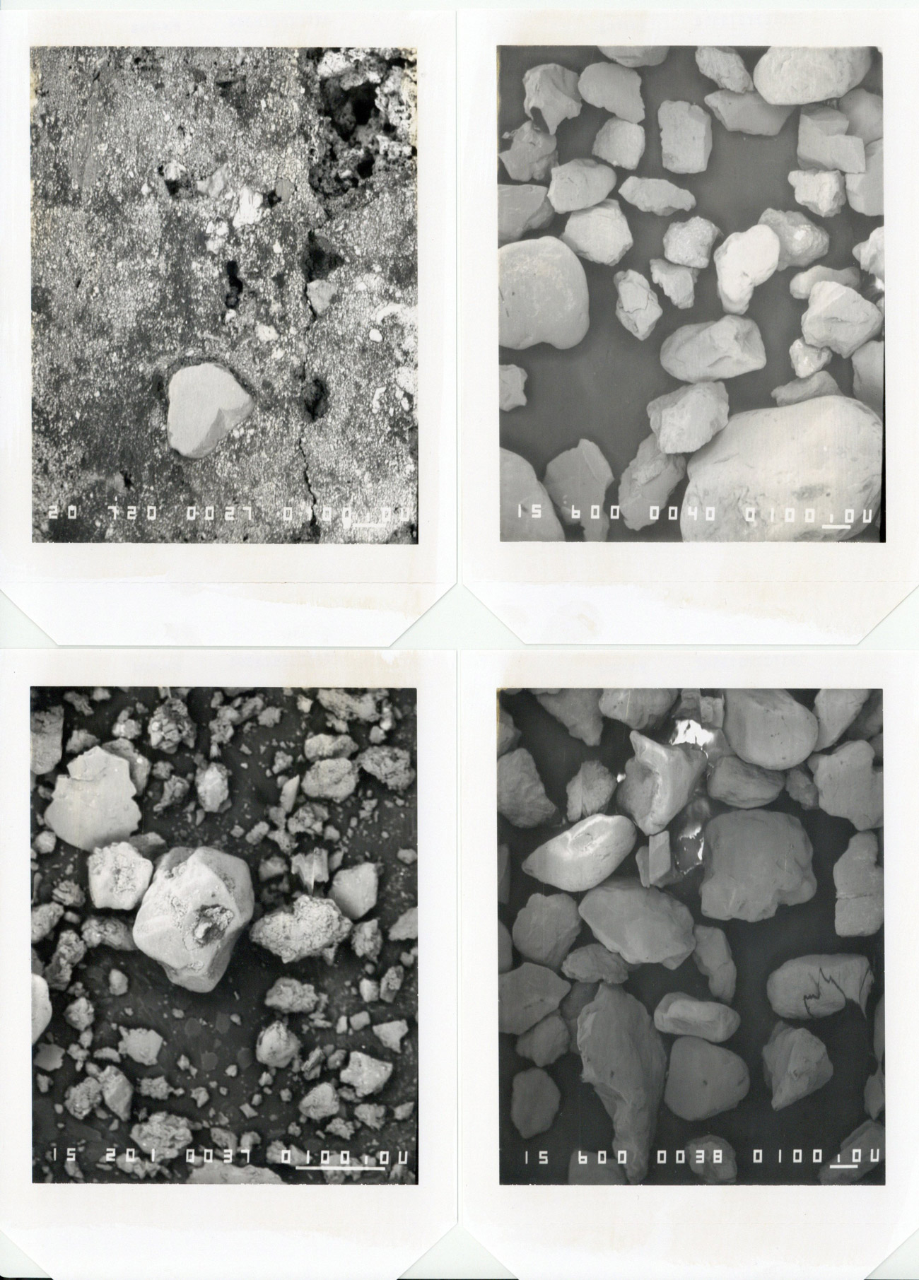 Four black and white photos appear to show rocks and dirt, each with white numbers across the bottom.