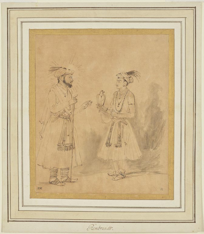 Drawing of two figures facing one another, one is bearded and the other has a bird perched on his hand.