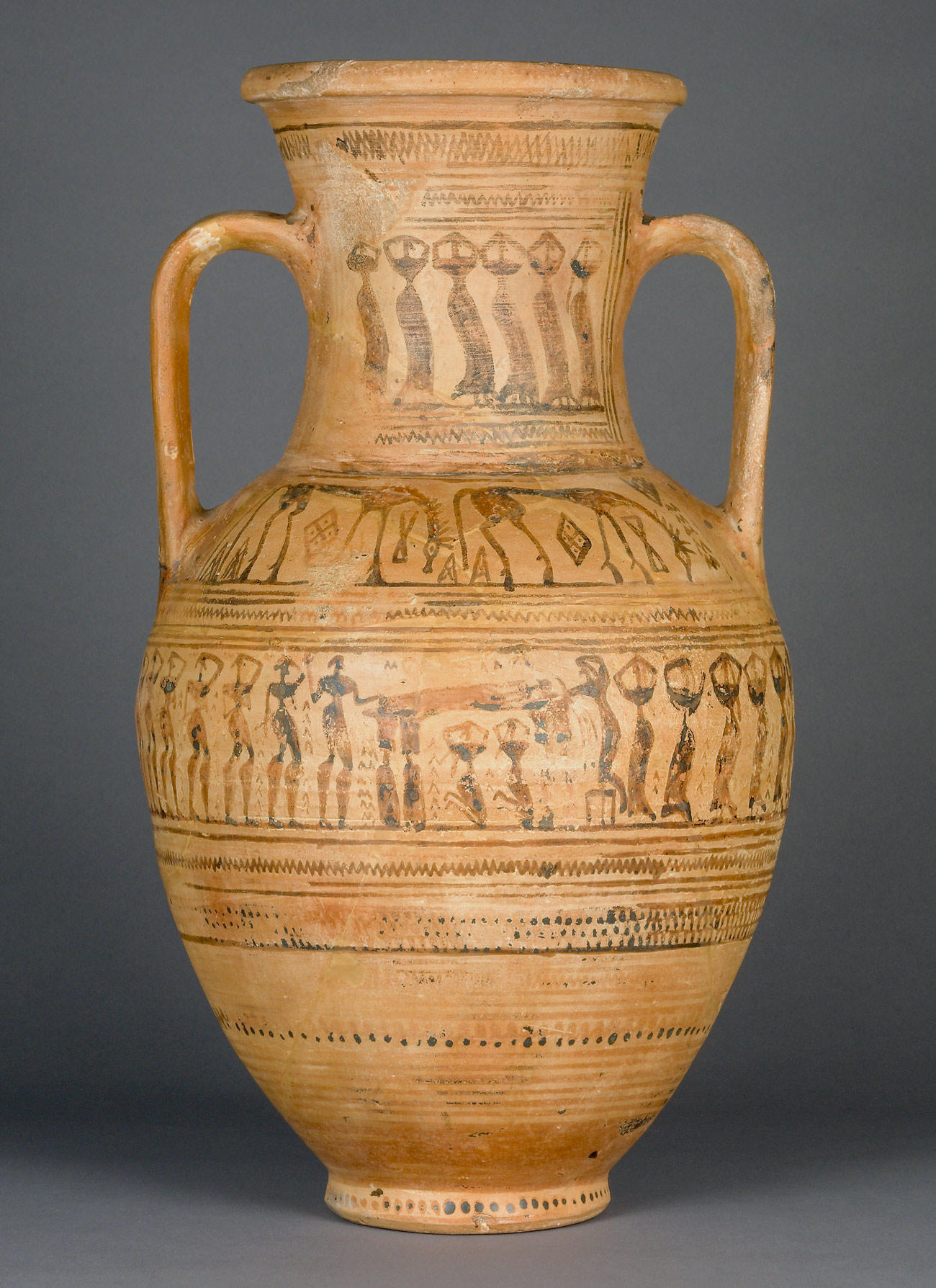 A ceramic urn with faded illustrations including horses, and human figures.
