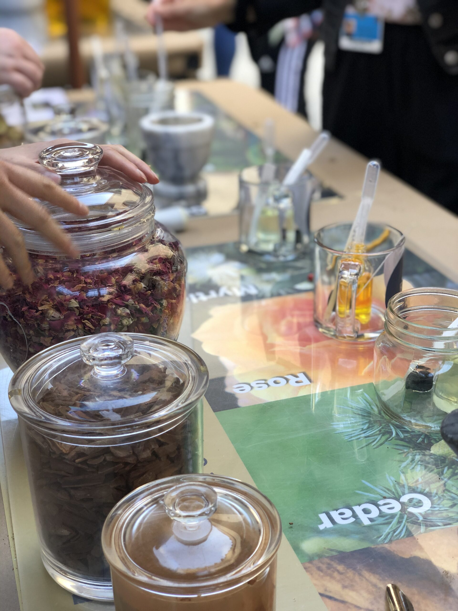 A table shows jars with flower petals and other ingredients used in perfume making