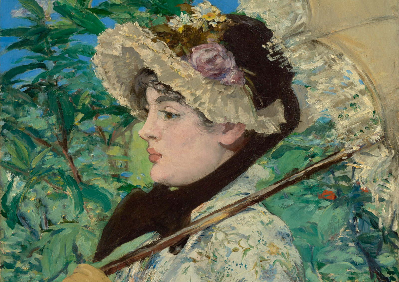 Detail of a painting showing a woman in profile, holding a parasol and wearing a lacy hat, against a backdrop of garden foliage
