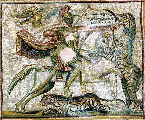 Mosaic (detail) of Odenathus as mounted archer