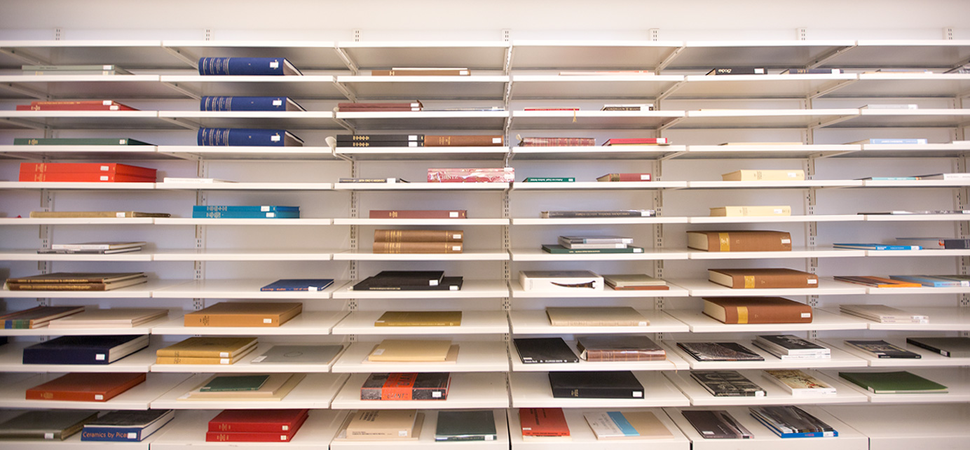 Wide-angle view of cloth-bound books lying horizontally on expansive shelves