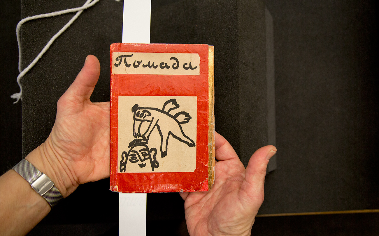 A woman's hands hold a small red book with a semi-abstract cover art showing a winged figure adjusting the hair of an androgynous figure
