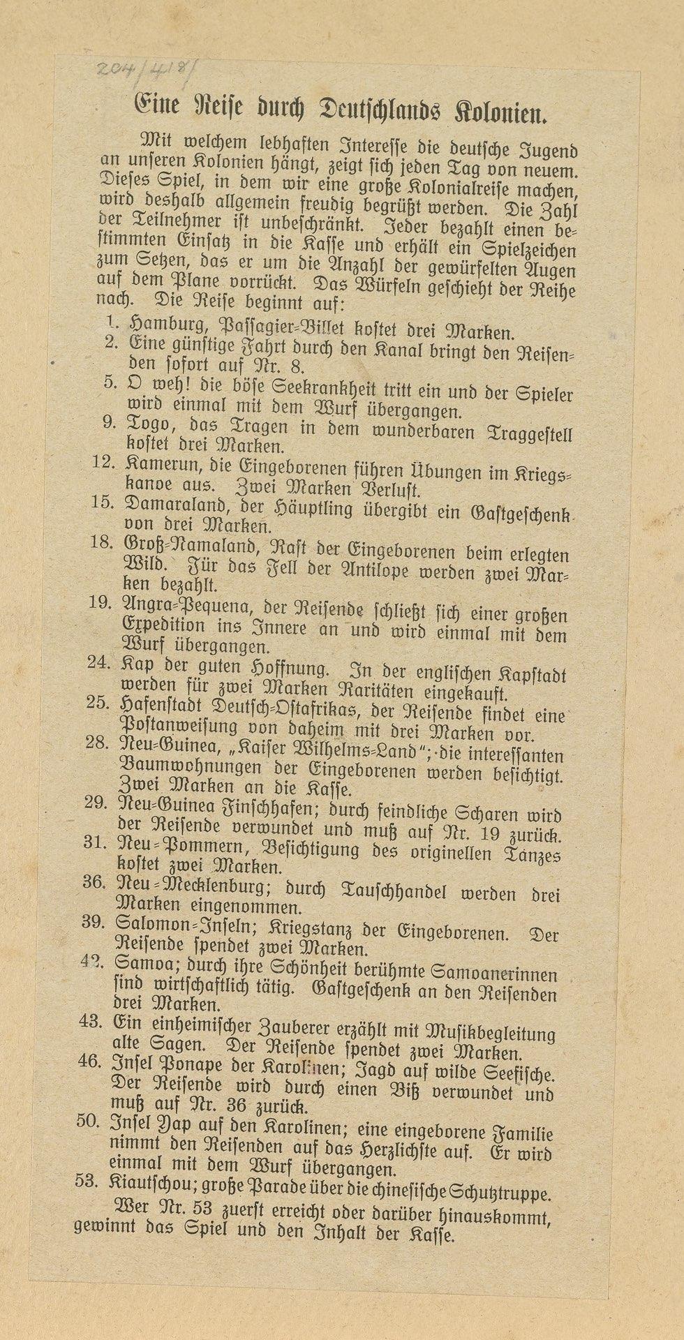 Deutschlands Kolonien-Spiel, full rules