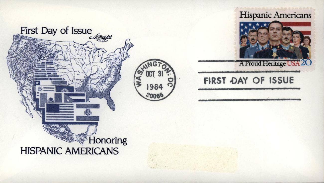 US Postal Service first-issue letter with a stamp celebrating Hispanic  Americans