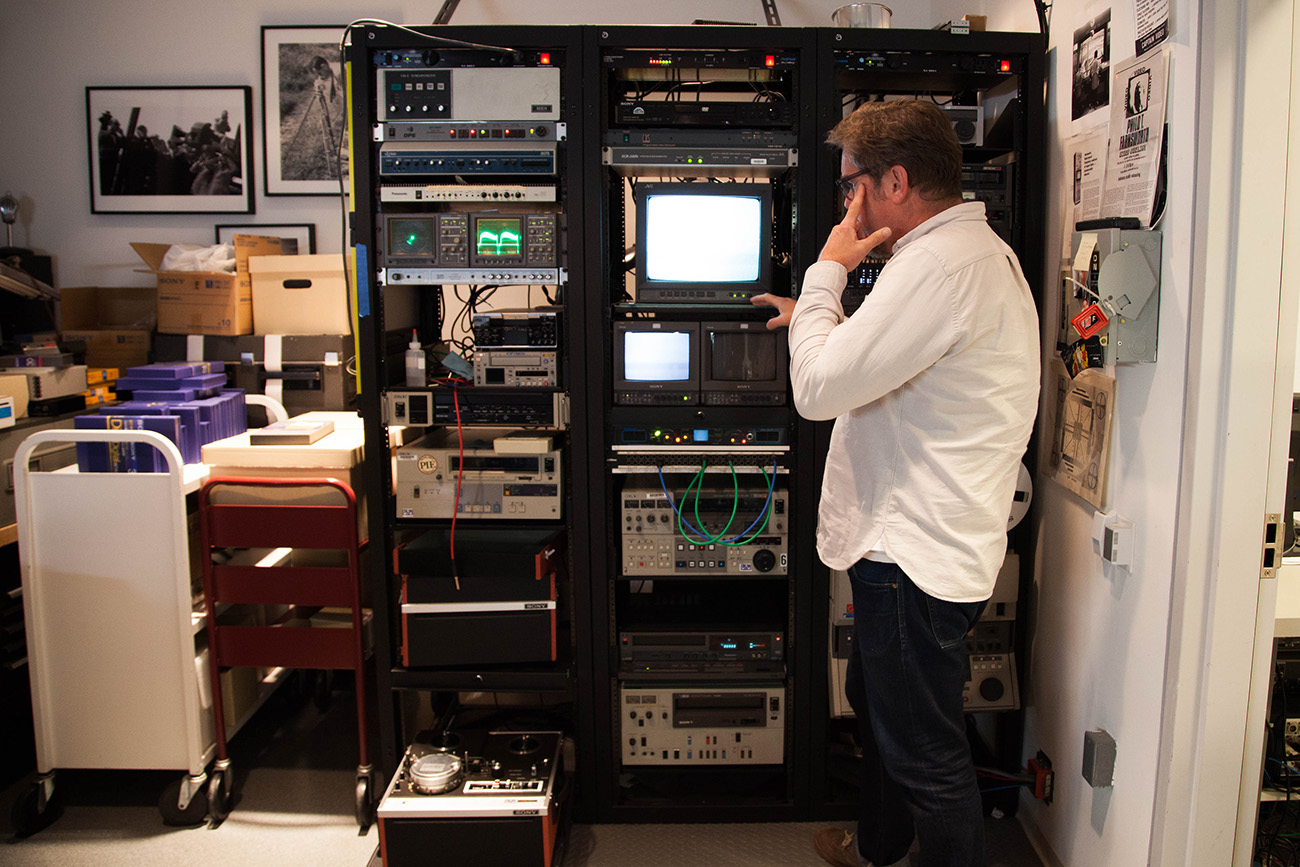 Furmanski's lab is outfitted with monitors, meters, and other tools to repair analog audio and video tape.
