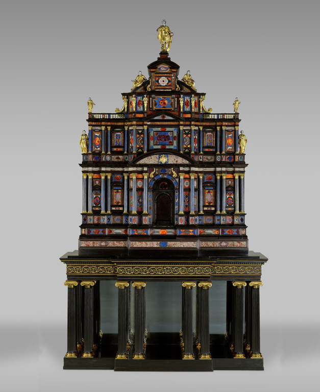 The Borghese-Windsor Cabinet, 1620–1821, Cabinet: Italian; Stand: French. Cabinet: Fir walnut and chestnut veneered with various tropical hard woods, set with lapis lazuli, jasper, agate, amethyst, and other hard stones ('pietre dure' in Italian); gilt bronze; silver and silver gilt; Stand: Beech, mahogany and oak ebonized and veneered with ebony; ebony columns; lacquered brass; mirrored glass, 70 1/16 × 49 5/8 × 21 1/4 in.