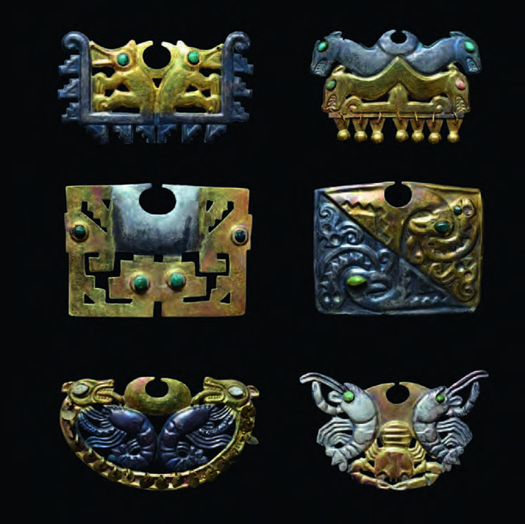 Nose Ornaments, ca. AD 400, Moche. Gold, silver, turquoise, H: 1 1/4–1 15/16 in, W: 1 ¾–3 1.16 in.