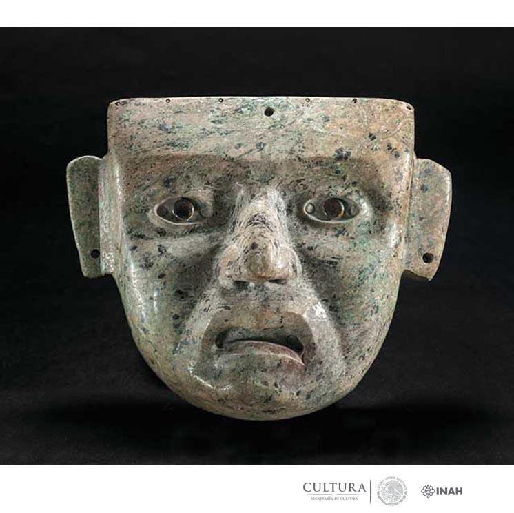 Mask, AD 1649–81, Mexica. Greenstone, obsidian, 8 ¼ x 9 5/8 x 3 ¾ in.