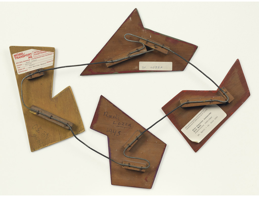 <em/>Relief No. 30 (verso), 1946, Raúl Lozza. Oil, alkyd, pine resin, wax, and acrylic on wood and metal wire, 16 × 21 × 1 1/2 in.