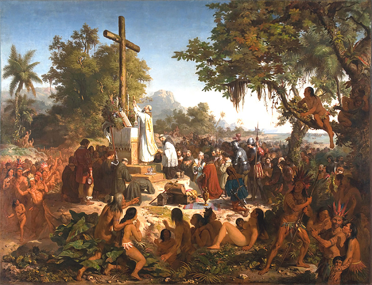 Painting of a white priest praising a wood cross. He is surrounded by Europeans and indigenous Brazilians.