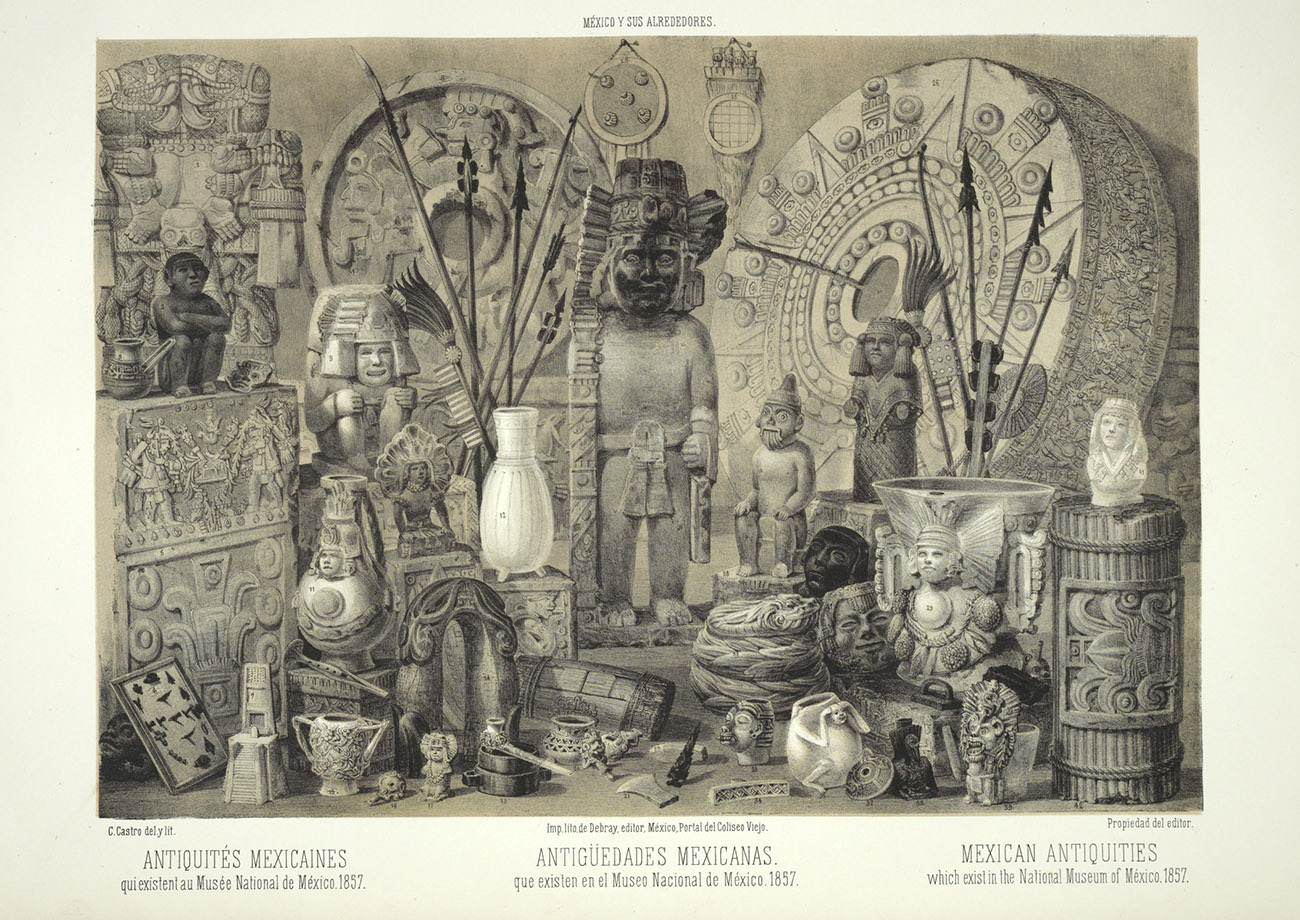 A print showcasing many archeological findings from Mexico. Stone carvings of people, ceramic works, and large circular stones are included.