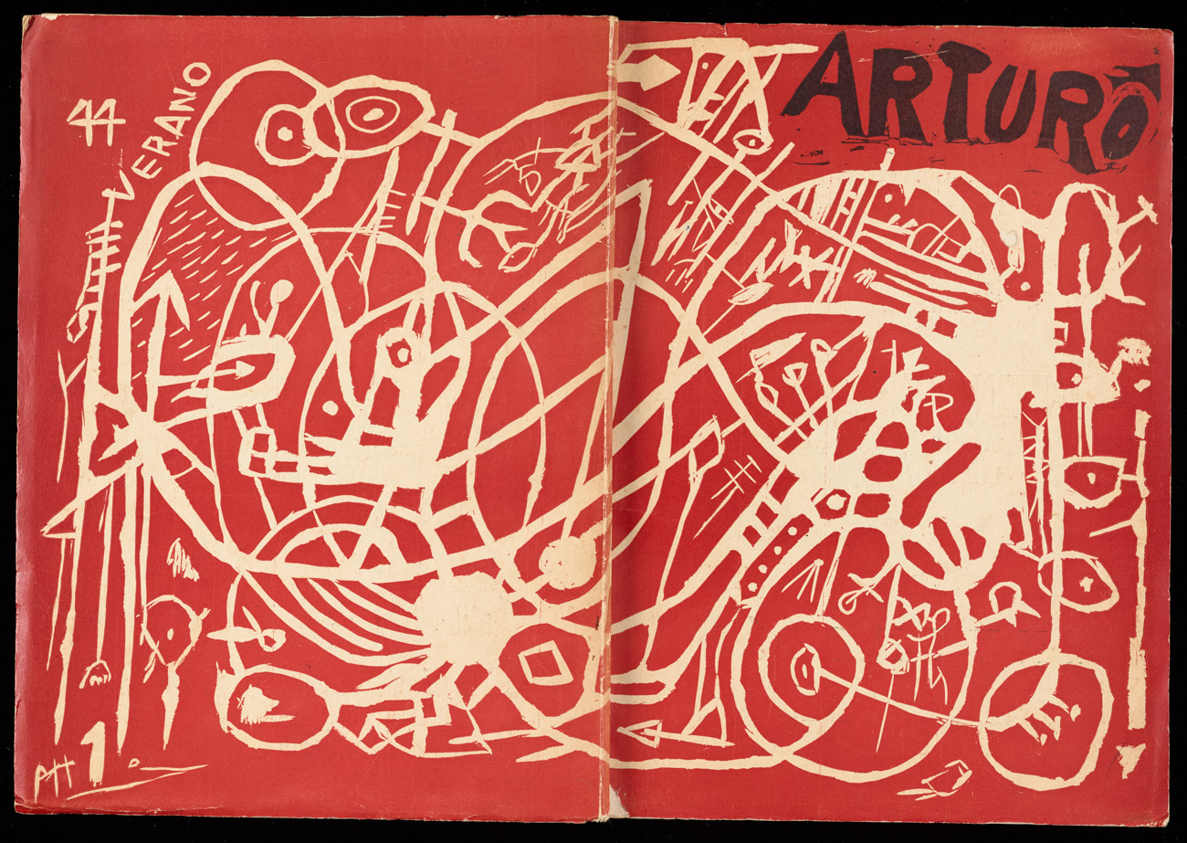 "The cover of an open book with an abstract drawing that spans the back, spine and front cover. Scrawled text reads ""Arturo, 44 Verano PH1."""