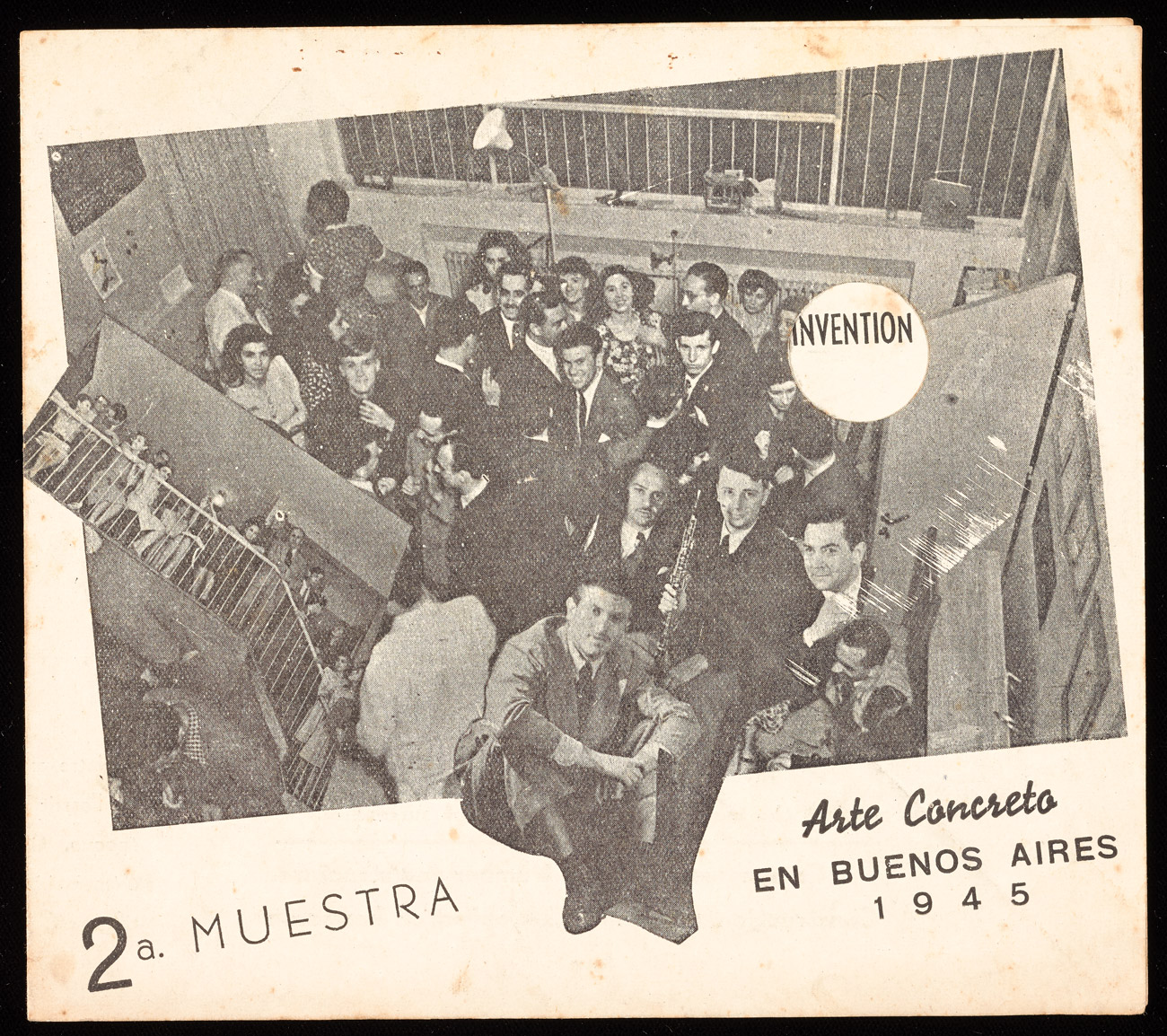 A stained flyer reading 2a. Muestra Arte Concreto en Buenos Aires 1945. A collage of photos shows well dressed young people packed into a gallery.