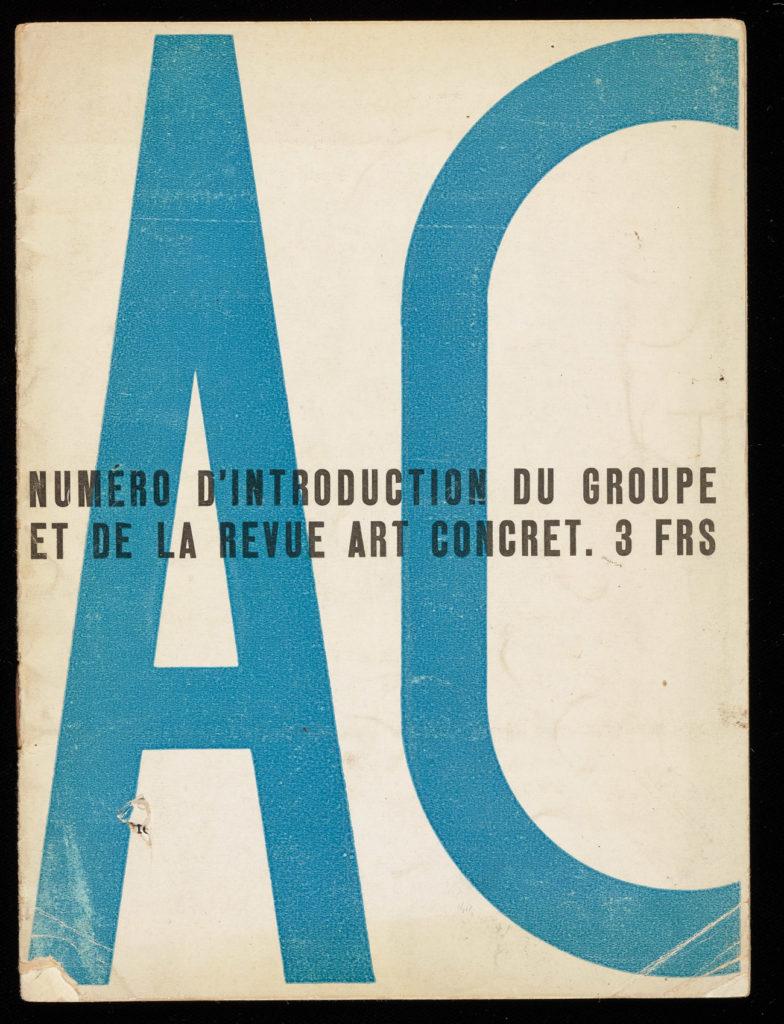 """A battered book cover reading """"Numéro d'Introduction du groupe et de la Revue Art Concret. 3FRS over large letters AC."""