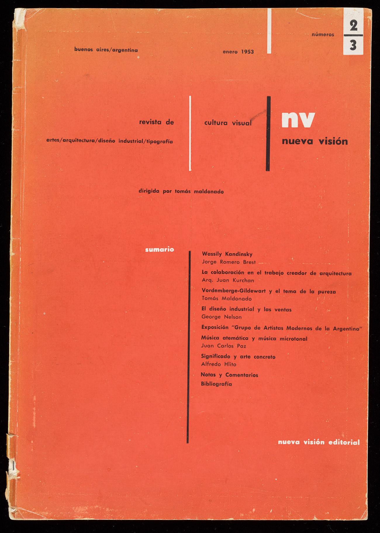 Bright orange battered magazine cover with title NV Nueva Visión, subtitle revista de artes/arquetectura/ deseño industrial/ tipografía