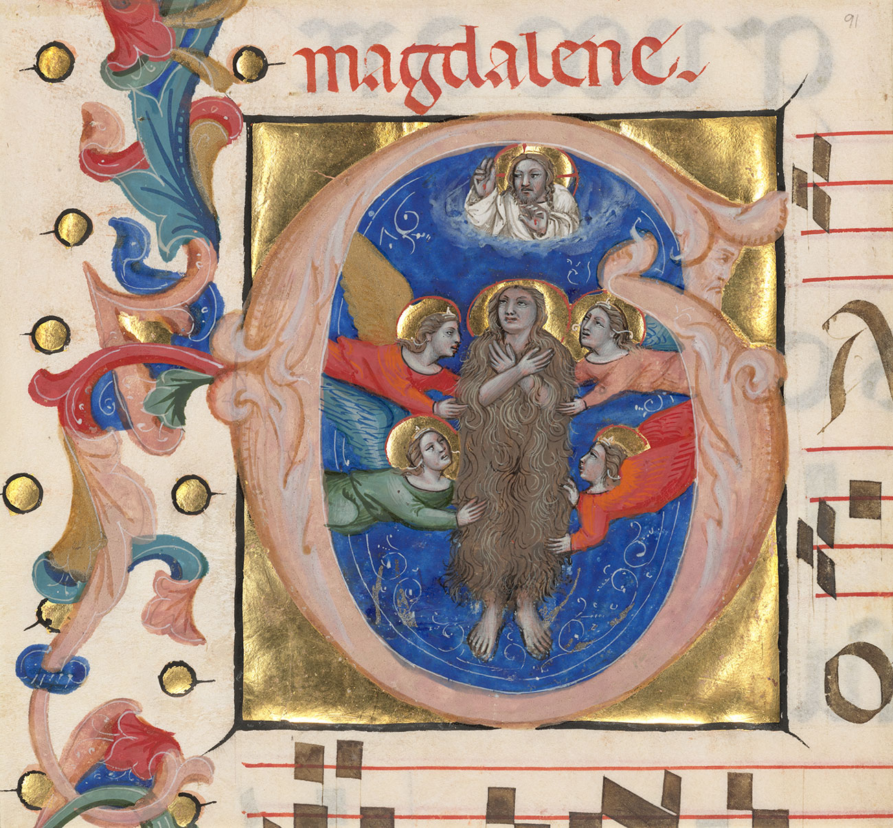 A detail of an illuminated manuscript. The illustration inside the initial G features Mary Magalene surrounded by angels.