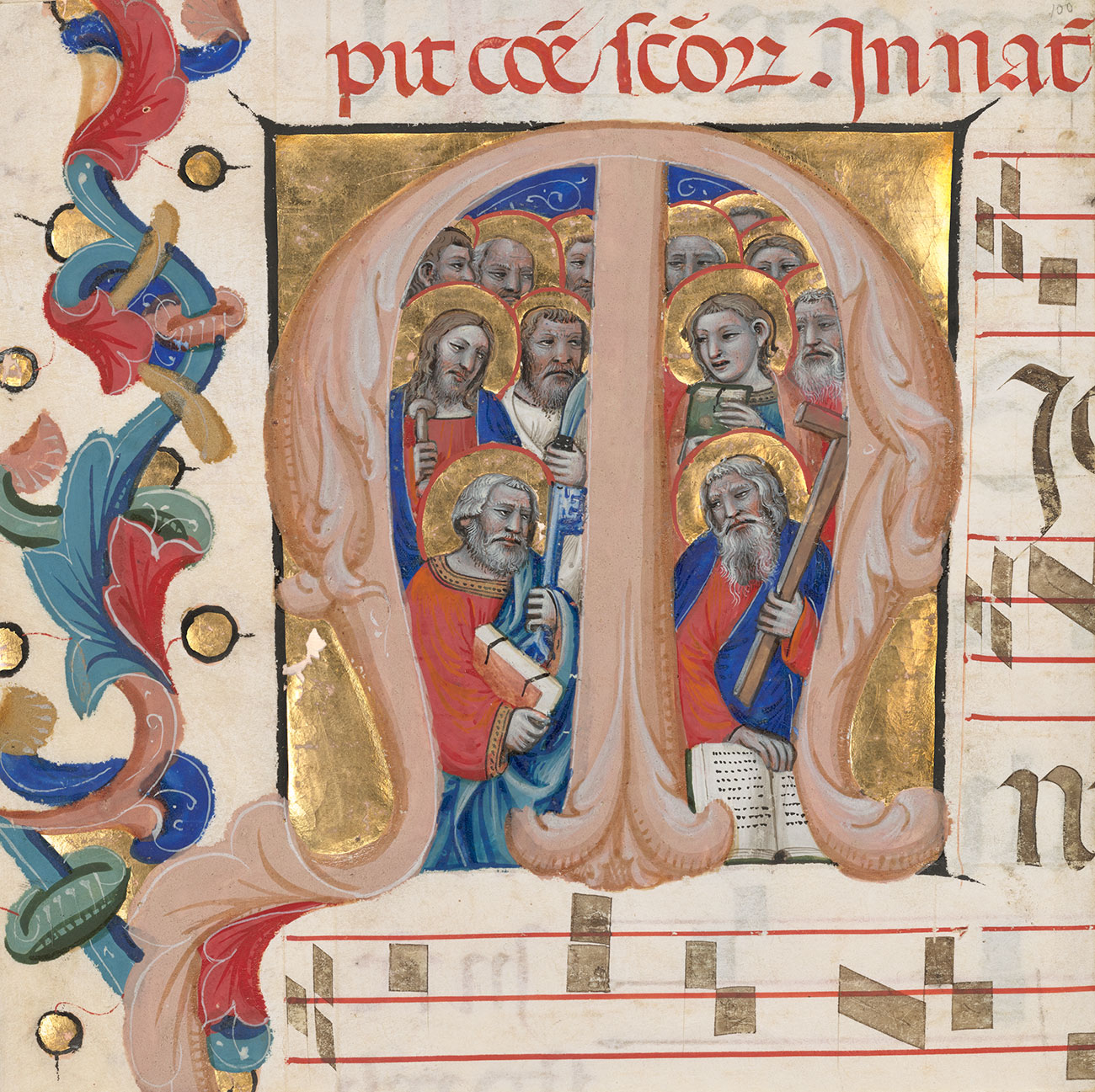 "A medieval illumination of all the Apostles crowded into an initial ""M"""