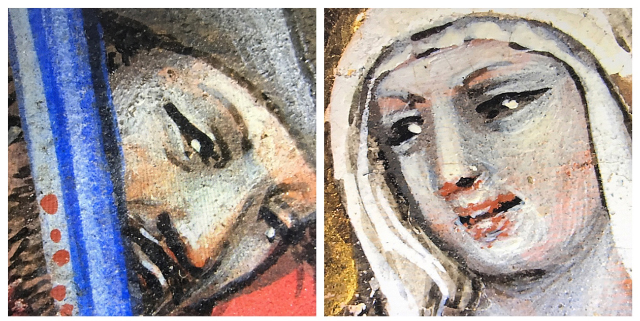 Two medieval illuminations in close detail. These close up of faces illustrate the artist's technique in rendering detail.