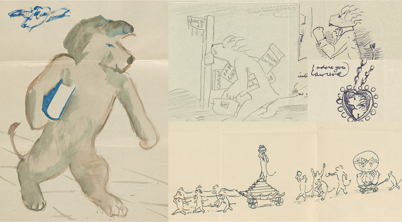 A grid of three whimsical drawings with lightly colored wash depicting a friendly lion who walks upright on two legs
