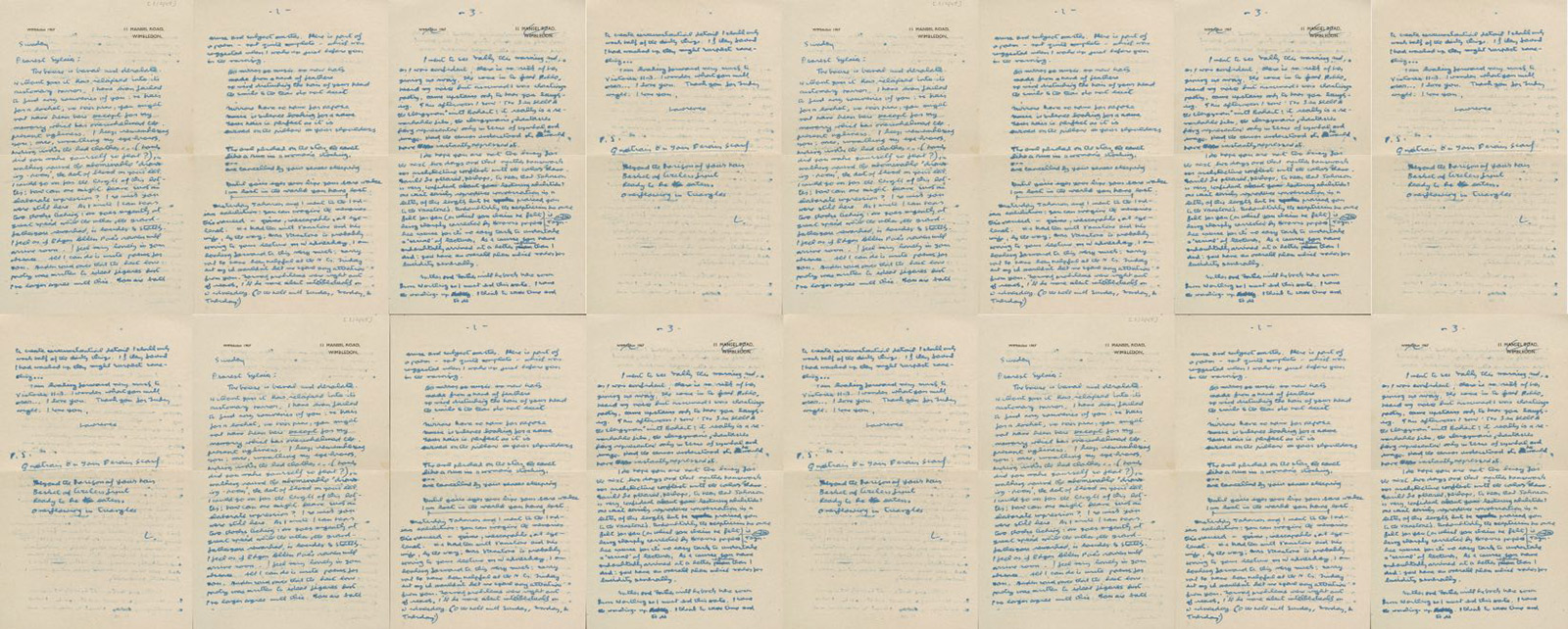 Composite view of 16 pages of yellowed letters, dense with blue handwriting