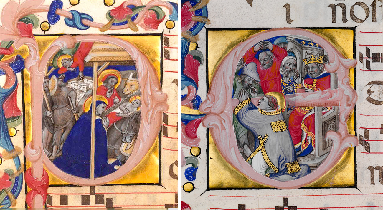 Two side by side medieval illuminations featuring biblical scenes.