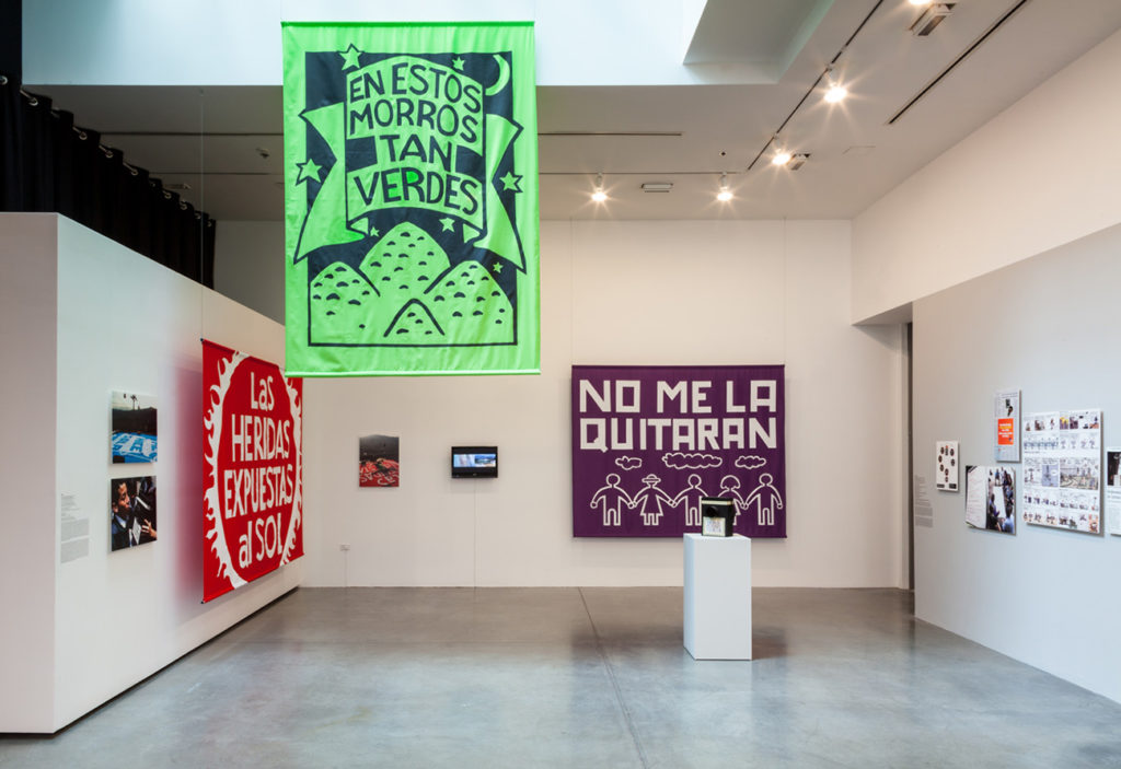 An installation view of an exhibition including paintings and hanging protest flags.