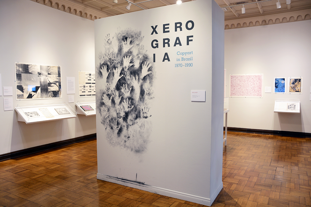Installation view of Xerografia, an exhibition containing many black and white prints.