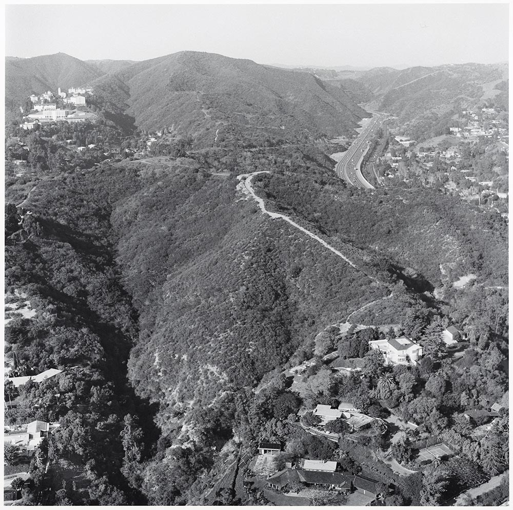 Black and white photograph of an aerial view of the Santa Monica Mountains from 1985